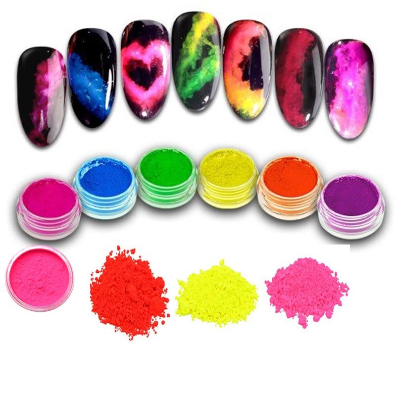 8 Colors Neon Phosphor Pigment Boxes Powder Ombre Pigments Gradient Nail Dust