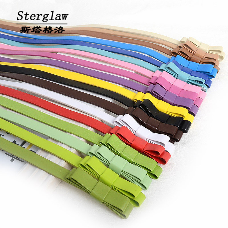 103x1.3cm Casual Double Bow Belt For Women Jeans 2020 Designer Female Belt High Quality Butterfly Ceinture Femme Sterglaw H009