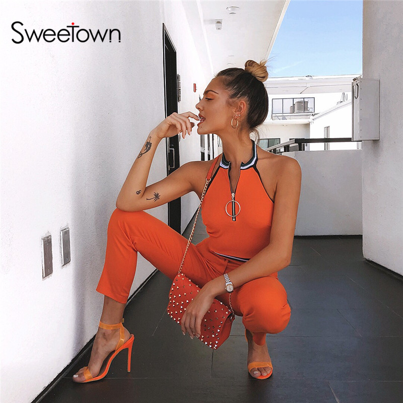 Sweetown Sexy Off Shoulder Crop   Top   Activewear Orange Zipper Stand Collar   Tank     Top   Patchwork Collar Summer Shirt Streetwear