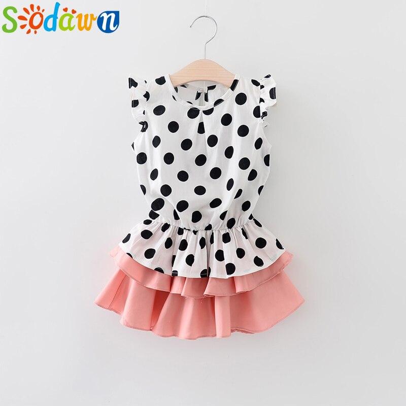 Sodawn Girls Clothing Set 2018 New Summer Children's Clothing Short-sleeved T-shirt Pineapple Design + Princess Mesh skirt 2PCS