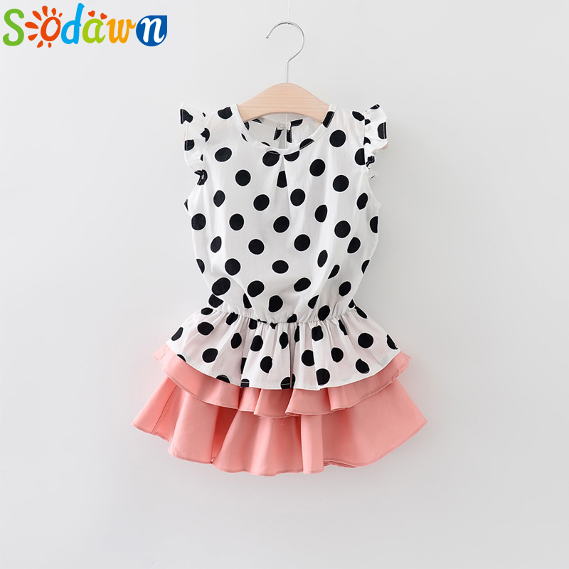 Sodawn 2017 NEW summer baby girls clothes cotton girl clothes suit children 2 to 6 years of age kids set 2016 new summer baby sport suit 100
