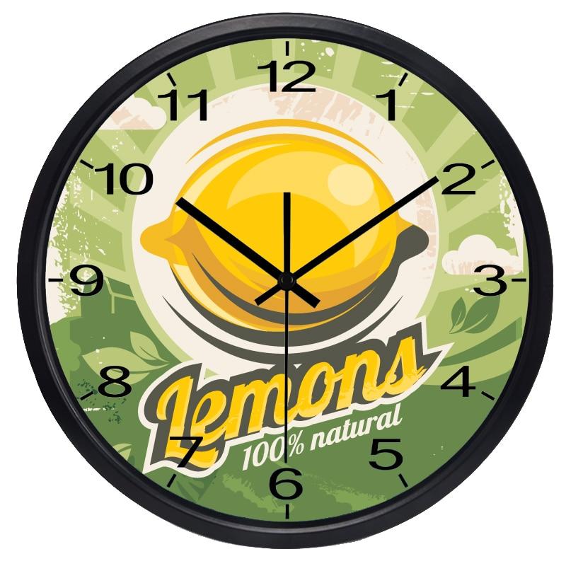 Yellow Lemon Wall Clock Summer Fruit Shop Kitchen Clock(China)