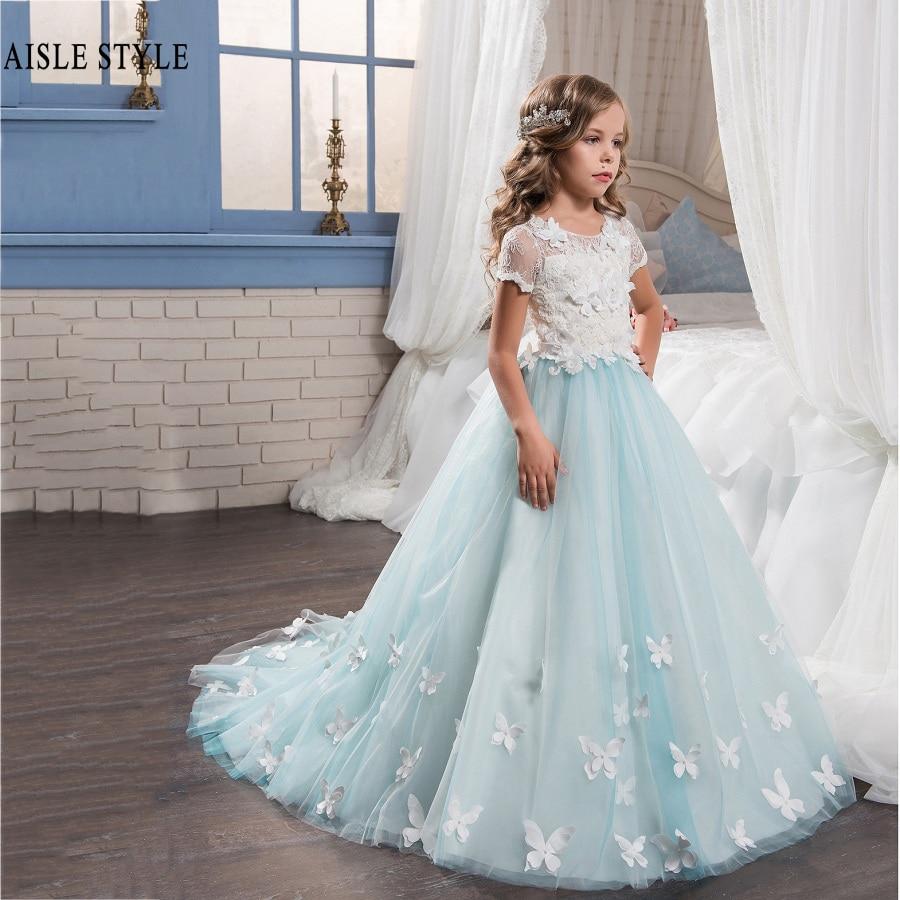 Pretty Ice Blue Wedding Children Flower Girl Dresses Short Sleeves ...