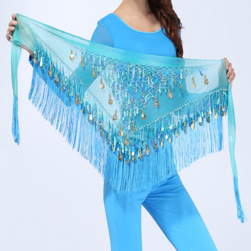 Hip Scarf Chiffon Coins Tassels Sequins Triangle Skirt Belly Dance Costume