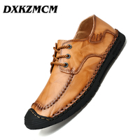 DXKZMCM Genuine Leather Shoes Men Flats Fashion Men's Casual Shoes Brand Man Soft Comfortable Lace up Loafers Shoes Mens