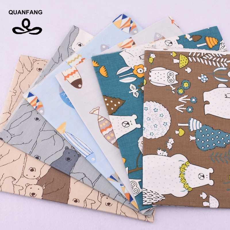 QUANFANG 44 unids/lote tela de algodón sarga impresa para Patchwork DIY, edredones, tela para coser, bebés, serie de dibujos animados de cuartos anchos