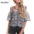 RealShe Shirt 2017 Spring Summer Round Neck Half Sleeve Sexy Blusa Women's Casual Top Blouse Women Clothing Plus Size