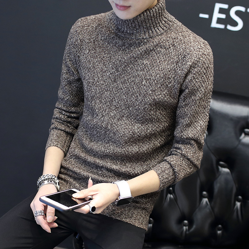 Autumn And Winter Turtleneck Sweater Male Trend Slim Turn-Down Collar Sweater Comfortable Teenage Thickening Basic
