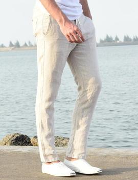 Male linen casual pants mens summer breathable slim straight pants men elastic waist male flax trousers thin beige white khaki