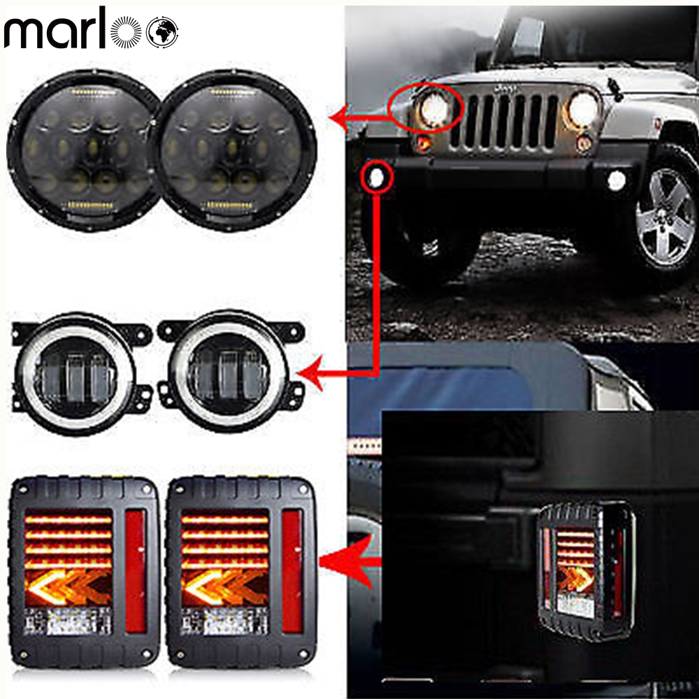 Marloo DOT 7 Inch 75W LED Headlights With Pair 4 Fog Lamp Wrangler Jk Tail Lamp Taillights Combo Kit For Jeep Wrangler JK 07-17