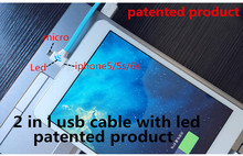 2 in 1 usb cable with led Both charging and data sync Applicable to letv one el riphone 5c som automotivo para carro