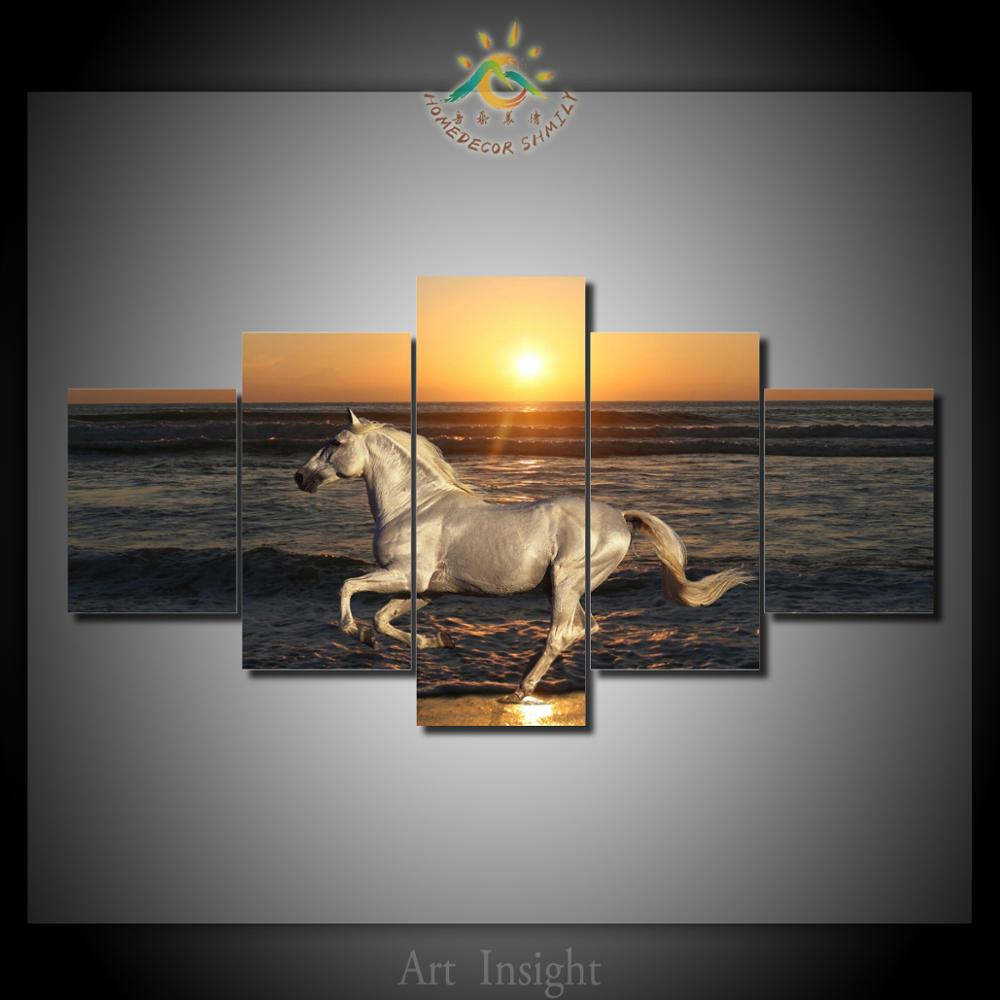 5 Pieces/set Runing Horse in the sunset Modern Wall Decor Canvas Picture Printings Art HD Print Painting On Canvas Pictures