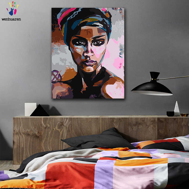 DIY colorings pictures by numbers with colors Sexy black girl positive picture drawing painting by numbers framed Home
