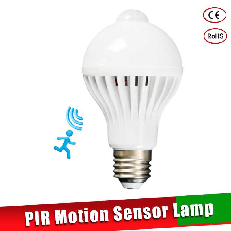 Светодиодный светильник с датчиком движения PIR, умный светильник, лампа E27, 100-240 В, светодиодный светильник, лампа 3 Вт-9 Вт, инфракрасный звуковой светильник для дома, лестницы