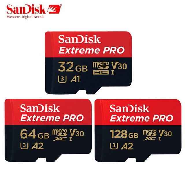 Original SanDisk Extreme PRO Memory Card 128GB 64GB 32GB Micro sd card U3 V30 UHS 1 flash Memory Microsd TF/SD Card 4K UHD