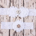 Wholesale Vintage Wedding Garter set dmade Vintage Crystal Pearl Lace Trim White Brown Shabby Flower Wedding Bridal 50 sets