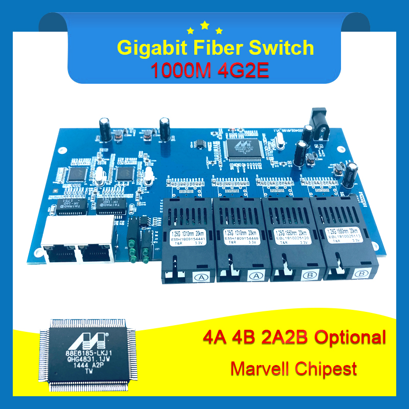 Industrial Grade Gigabit Ethernet Switch 4 Port 1 25G fiber 2 RJ45 bi directional passive fiber