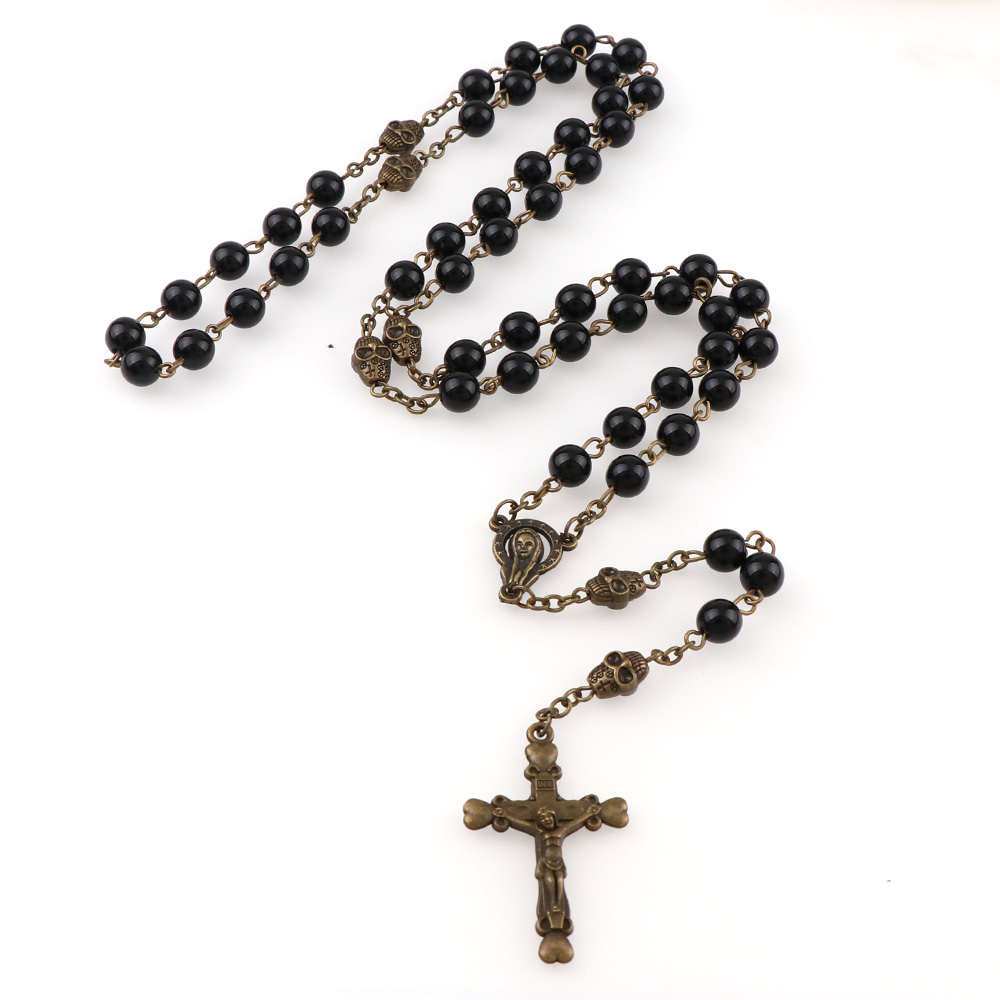 b0a5017bf5fe ABS negro perla colgante de collar de cráneo aleación cruz Jesús Cruz colgante  religioso collares moda joyería religiosa