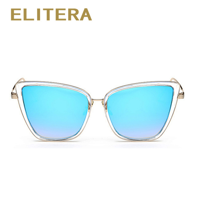 ELITERA Fashion Women Sunglasses Cat Mirror Glasses Metal Cat Eye Sunglasses Women Brand Designer High Quality Square UV400