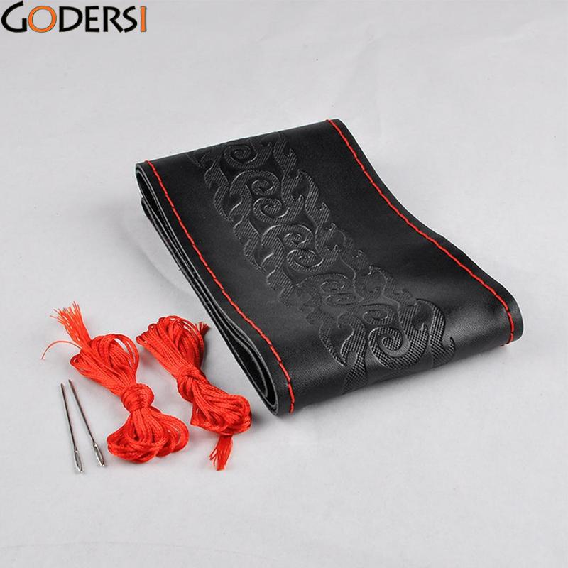 Godersi DIY Steering Wheel Covers Leather Braid On The Steering-wheel Of Car With Needle And Thread Interior Accessories PQJ6934
