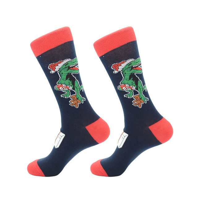 Jhouson 1 pair Fashion Crew Funny Christmas socks Colorful Men's Cotton Causal Dress Colorful Wedding Socks For Gifts 4