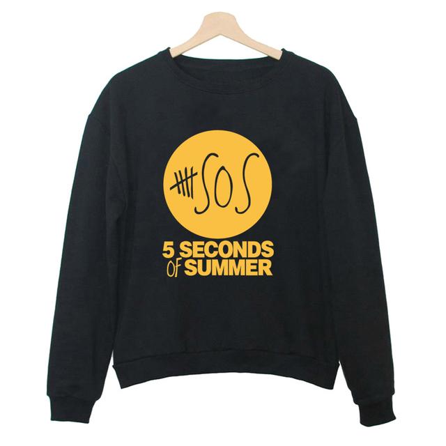 5 SEGUNDOS DE VERÃO 5 SOS Hoodie Da Música Luke Calum Michael Ashton Camisa Preta Top Preto Para As Mulheres Camisolas