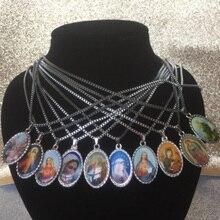 Святая Дева Мэри 2,9X1,8 см драгоценный камень ожерелье Бог христианские украшения ретро свитер цепи Европейский металлический материал украшения дома