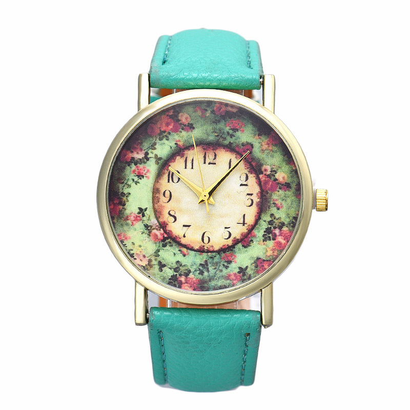 2016 New Floral Printed Women Watches Leather Analog Quartz Dial Wrist Watch Men Casual Girl Dress Reloj Mujer Relojes Hombre women watch clock silicone rubber reloj jelly blue floral quartz analog sports flower casual wrist watch top brand dress watch