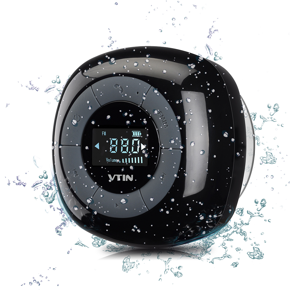VTIN Mini waterproof wireless speaker FM radio bluetooth 4.0 build in microphone water resistant shower speaker with LCD screen deer water resistant shower curtain