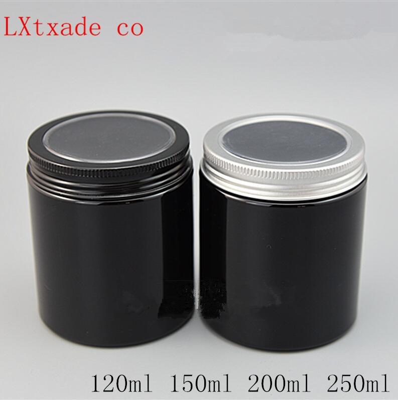 Free Shipping 30 50 100 200 250 g Empty Black Plastic Bottle Jar aluminum with window