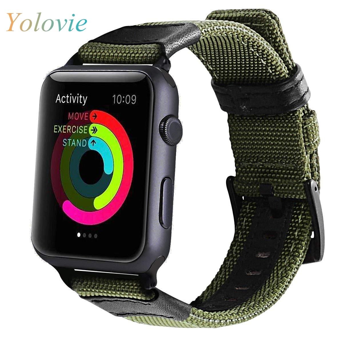 Yolovie Nylon Leather Watch Band For Apple Watch 38/42mm 40/44mm. Nylon NATO Watch Band For Iwatch Series 5 4 3 2 1