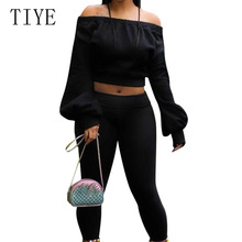 TIYE Autumn Black Two Pieces Sets Jumpsuits Long Sleeve Top and Pants Womens Casual Bodycon Off Shoulder Skinny Rompers