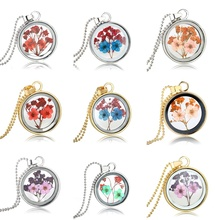 Dried Flowers Round Glass Statement Necklaces Silver Plated Chain Long Necklaces For Women Best Friend Women Necklaces Jewelry