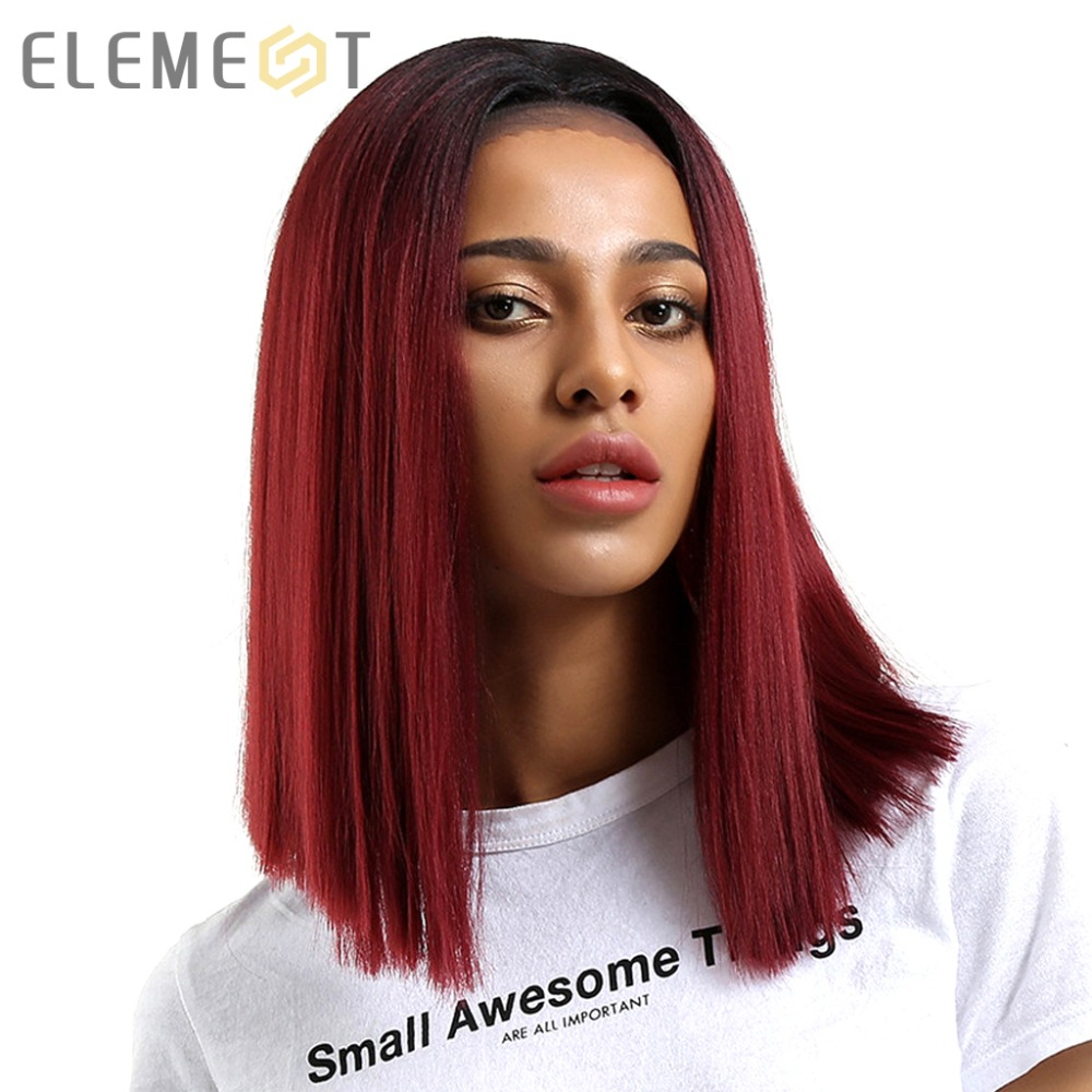 Элемент прямо синтетические волосы Синтетические волосы на кружеве 13*4 T часть боб парик 14 парики для черный Для женщин 7 цветов Ombre выбор вол...