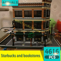 Lepin 15017 4616Pcs Street View Series Starbucks And Bookstores Model Building Blocks Set Bricks Toys For