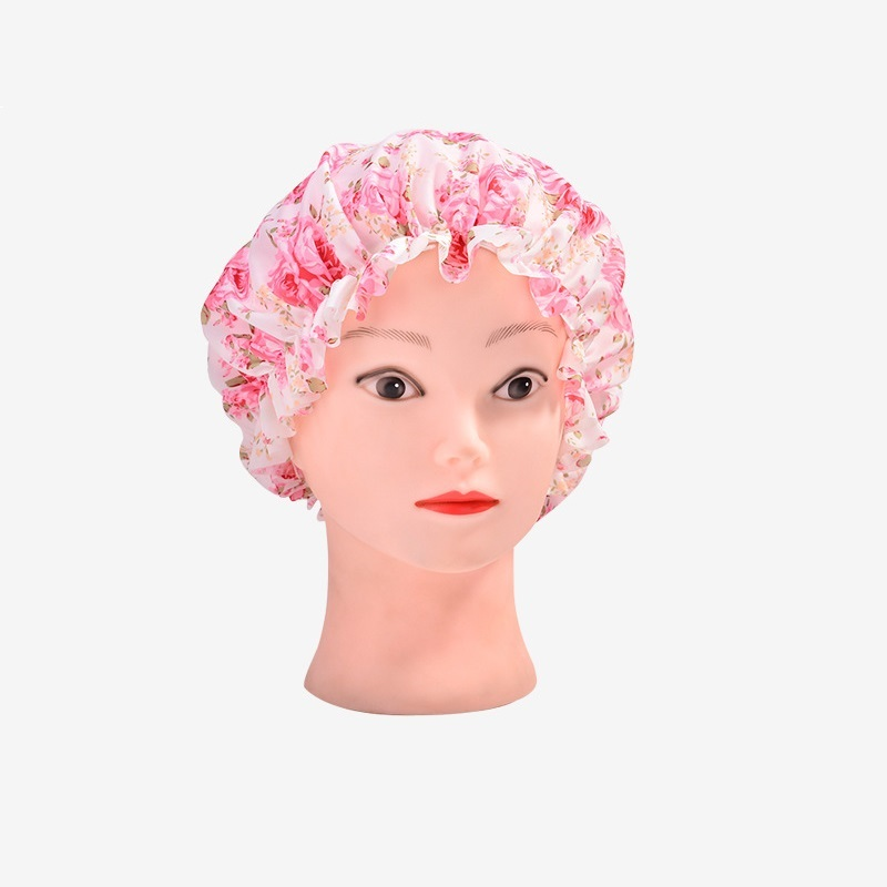 250pcs Rose Pattern Desing Shower Caps Women Lady Waterproof Elastic Band Bathing Hat For Makeup Spa Bath Accessories ZA0628