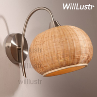 Handmade Bamboo Wall Lamp Natural Material Doorway Foyer Porch Loft Bedside Bedroom Japan Style Country Light Sconce