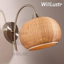 Willlustr бамбук настенный светильник ручной работы натурального бамбука тени бра освещения в японском стиле Страна Света двери фойе крыльцо Лофт