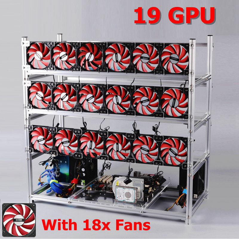 19 GPU Silver/Black Mining Frame with With 18 x LED Fans Aluminum Stackable Mining Frame For Ethereum BTC
