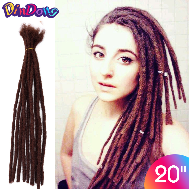 Dindong 20 Inch Handmade Dreadlocks Hair Extensions Pure Grey Black