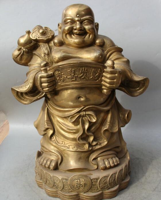 """18 """"Китайский Латунь Стоять Богатство Счастливый Смех Будда Тыквы Ru Yi Статуя быстро"""