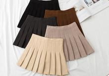 Vintage Wool Pleated Mini Skirts Womens New Arrival 2019 Winter Fashion High Waist Woolen Short Skater Feamle Saia Black