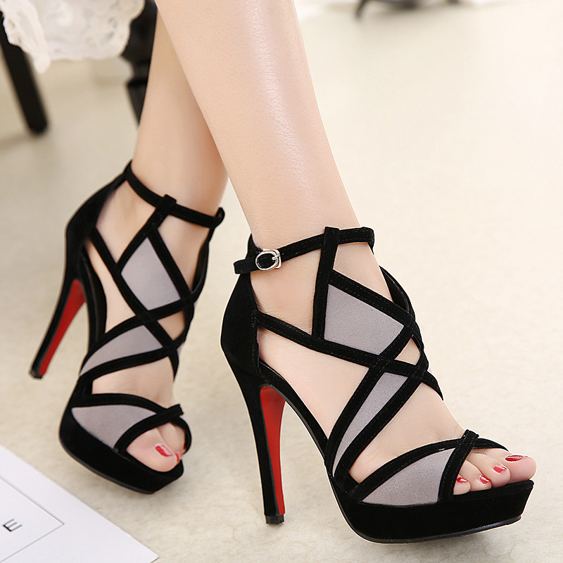 Fish mouth shoes female summer sexy high-heeled fight color wild cross strap 2019 new hollow exposed toe fine withFish mouth shoes female summer sexy high-heeled fight color wild cross strap 2019 new hollow exposed toe fine with