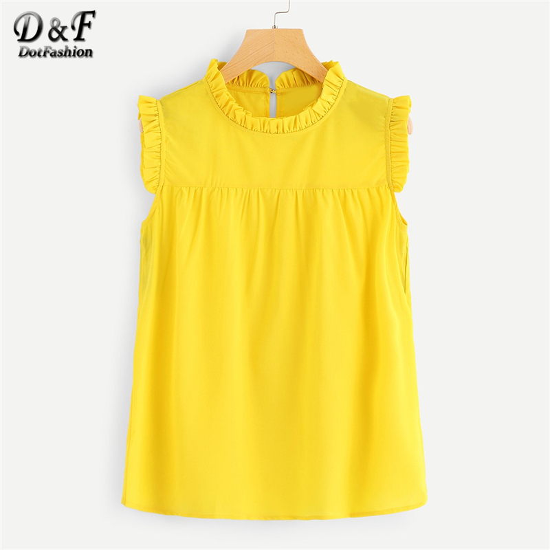 6bb3ac84bcc225 Dotfashion Yellow Solid Frill Trim Shell Womens Tops And Blouses 2019 Cute  Summer Sleeveless Korean Fashion