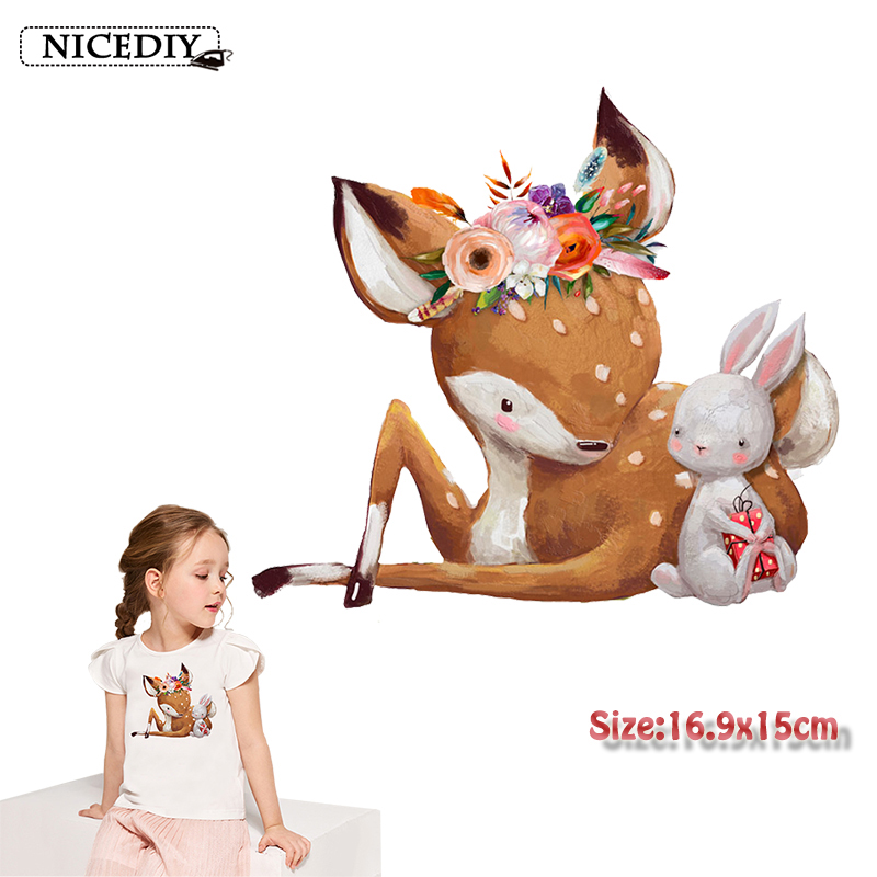 Nicediy Cute Flower Rabbit <font><b>Deer</b></font> <font><b>Patches</b></font> Animal Heat Thermal Transfers <font><b>Patch</b></font> Iron On Transfer For T-Shirts Decor For Kids Clothes image