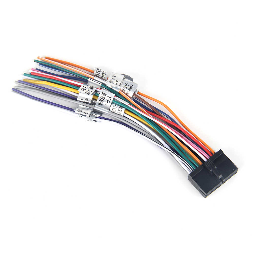 dasaita dyx001 universal auto stereo radio wiring harness adapter diy plug connector 18pin with ant speaker [ 1000 x 1000 Pixel ]