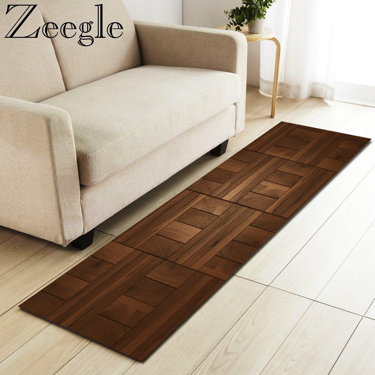Zeegle Kitchen Floor Mat Praying Mats Non-slip Bedroom Rugs Bedside Mats Living Room Wood Painting Sofa Mat Long Kitchen Rug