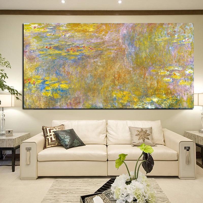 Большой размер Золотая стена искусство Лотос Клода монета импрессионист картина маслом на холсте плакаты и печать, Картина Настенная для г
