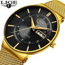 Relogio Masculino 2019 LIGE New Mens Watches Top Brand Luxury Ultra Thin Quartz Watch Men Steel Mesh Strap Waterproof Gold Watch все цены