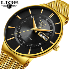 цены на Relogio Masculino 2019 LIGE New Mens Watches Top Brand Luxury Ultra Thin Quartz Watch Men Steel Mesh Strap Waterproof Gold Watch  в интернет-магазинах